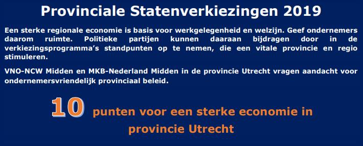 Provinciale Statenverkiezingen-2019: 10 punten voor een sterke economie in Utrecht