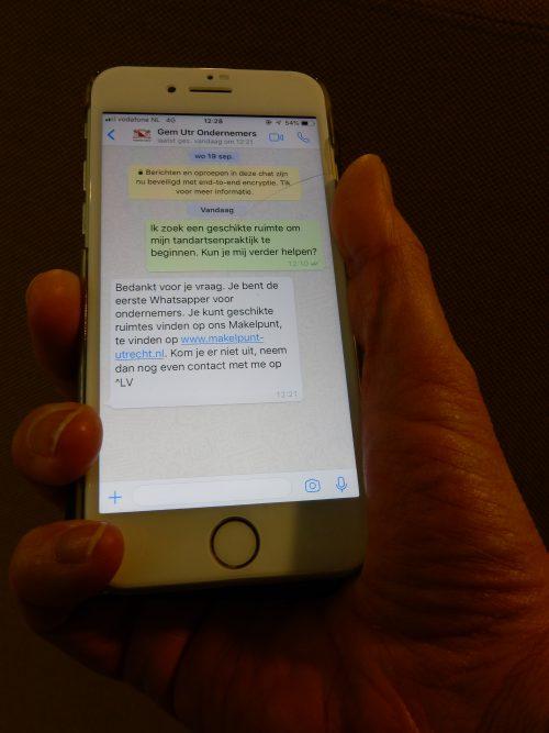 Nu ook Whats-app en live chat voor ondernemers met gemeente Utrecht